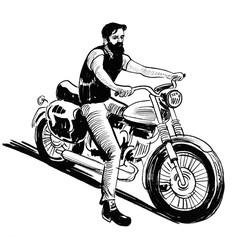 Biker riding a vintage moto...
