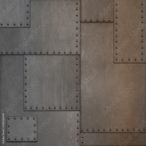 Obraz steam punk or steampunk rusty armor metal background 3d illustration - fototapety do salonu
