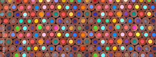 Εκτύπωση καμβά back view of stacked colored pencils