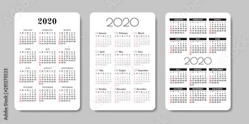 Fotografia  Calendar 2020. Vector design template.
