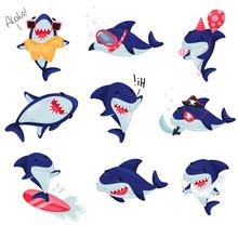Set Of Cartoonized Humanized Sharks. Vector Illustration On White Background.