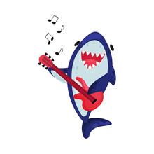 Cartoon Shark Musician. Vector Illustration On White Background.