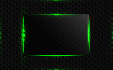 Abstract Black Background With Glass Shapes And Green Neon Light Concept Composition. Modern Dark Cover Vector Design Template For Use Element Banner, Presentation, Brochure, Frame, Web, Advertising
