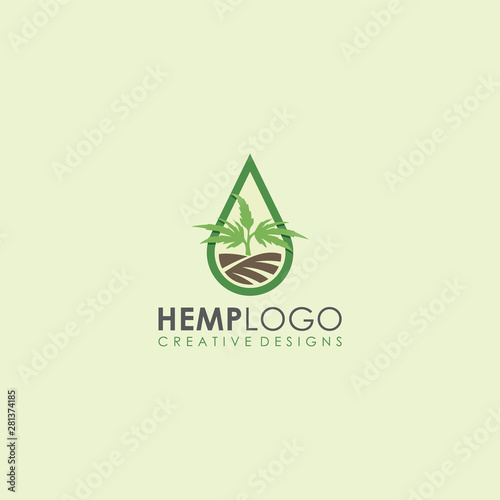 hemp field, hemp distillation oil garden cannabis icon vector logo art illustrat Canvas Print