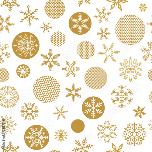 Christmas Seamless Pattern With Trendy Golden Snowflakes And