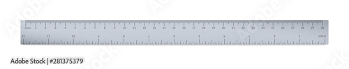 Fotografie, Obraz Engineer or architect aluminium drafting ruler with an imperial and a metric units scale