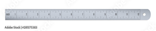 Engineer or aluminium drafting ruler with an imperial units scale Fototapet