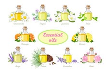 Set Of Essential Oils In Glass Bottles Isolated On White Background. Vector Illustration Of Aromatic Plants And Flowers In Cartoon Simple Flat Style.