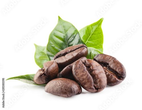 Coffee beans isolated on white background with clipping path Fototapeta