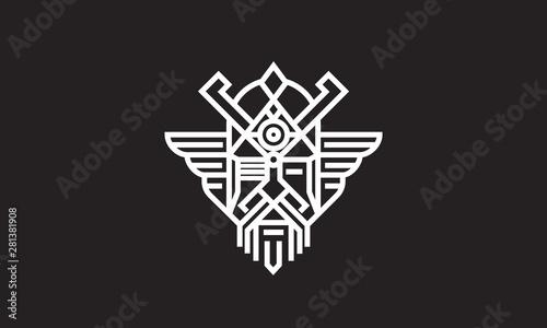 Photo  Scandinavian god Odin  monoline logo vector