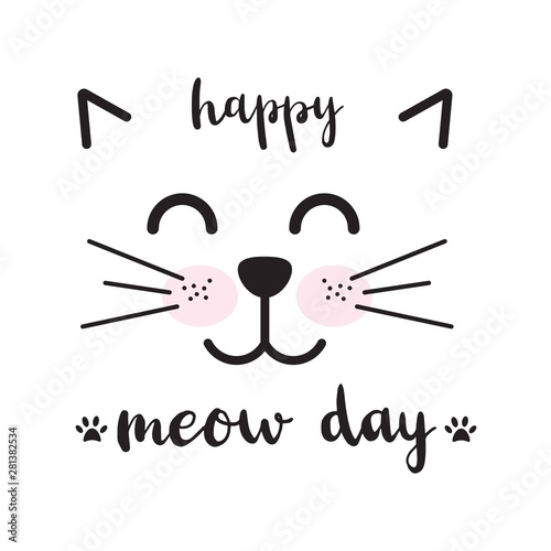Photo Cute illustration with cat face. Happy meow day