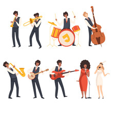 Jazz Band Group, Musicians Singing And Playing Trumpet, Banjo, Saxophone, Trombone, Drums, Guitar, Double Bass, Vector Illustration