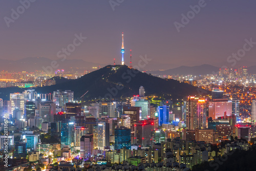 Foto op Canvas Seoel Aerial view of Seoul City at Night,South Korea.