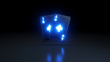 Blackjack Poker Cards Casino Concept With Glowing Neon Lights Isolated On The Black Background - 3D Illustration