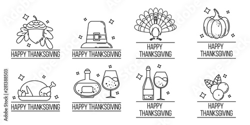 Fototapeta  set of thanksgiving logos. Vector illustration