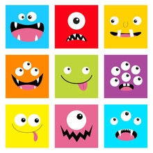 Monster Head Set. Square Head. Boo Spooky Screaming Smiling Sad Face Emotion. Three Eyes, Tongue, Teeth Fang, Mouse.Happy Halloween Card. Flat Design Style. White Background.
