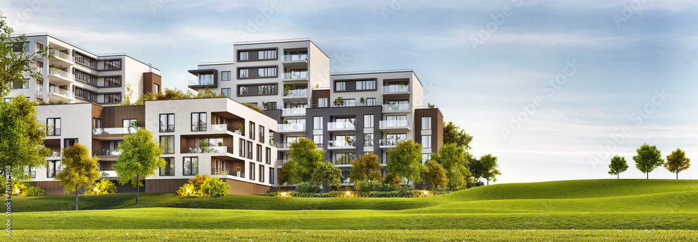 Fototapeta Scenic view of modern architecture of apartment buildings