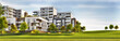 Leinwanddruck Bild - Scenic view of modern architecture of apartment buildings