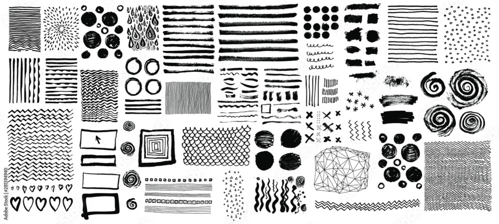 Fototapeta Vector set of grungy hand drawn textures. Lines, circles, crosses, smears, spirals, waves, brush strokes, triangles. Hand drawn elements for your graphic design