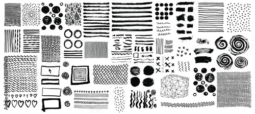 Vector set of grungy hand drawn textures Fototapet
