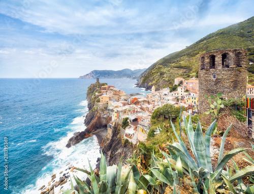 Fotografie, Tablou Panorama of Vernazza in summer with Doria Castle