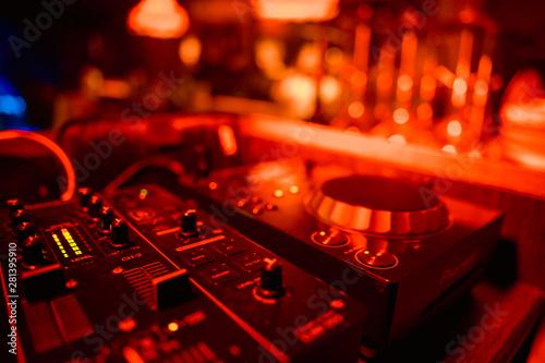 DJ playing music on light background - 281395910
