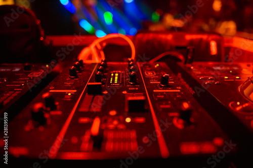 DJ playing music on light background - 281395919