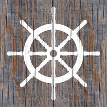 White Helm Wheel Painted On Weathered Wooden Planks, Adventure Or Journey Concept