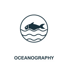 Oceanography Vector Icon Symbol. Creative Sign From Science Icons Collection. Filled Flat Oceanography Icon For Computer And Mobile