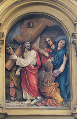 4th Stations of the Cross, Jesus meets His Mother, Saint John the Baptist church in Zagreb, Croatia
