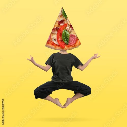Female body in black outfit headed by pizza's slice against yellow background. Negative space to insert your text. Modern design. Contemporary art collage. Vacation, summer, resort.