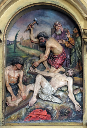 Fotografie, Obraz 11th Stations of the Cross, Crucifixion: Jesus is nailed to the cross, Saint Joh