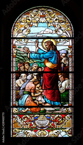 Photo Sermon on the Mount, stained glass window in the Saint John the Baptist church i