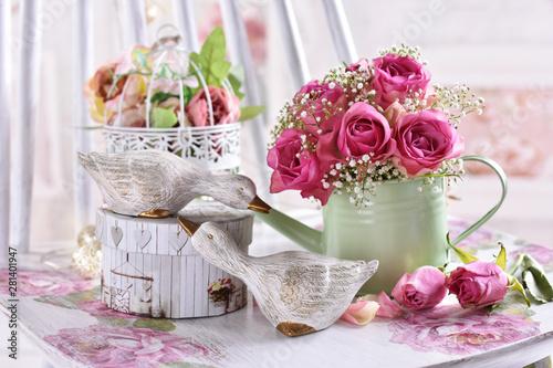Fototapeta romantic style still life with bunch of roses obraz