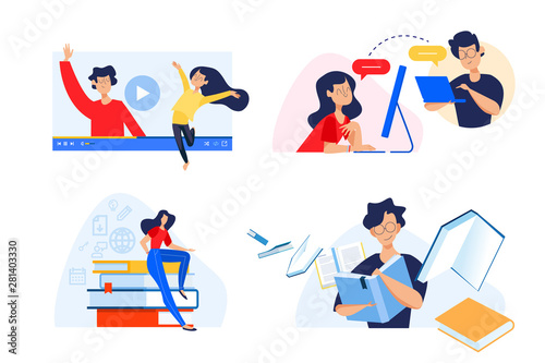 Flat Design Concept Of Video Tutorials E Book E Learning Virtual Classroom Vector Illustration For Website Banner Marketing Material Presentation Template Online Advertising Buy This Stock Vector And Explore Similar Vectors At Adobe