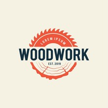 Sawmill Emblem Logo Vector For...