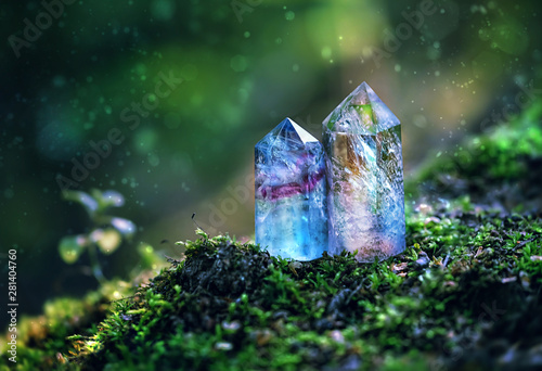 Foto gemstones crystal minerals on abstract nature background