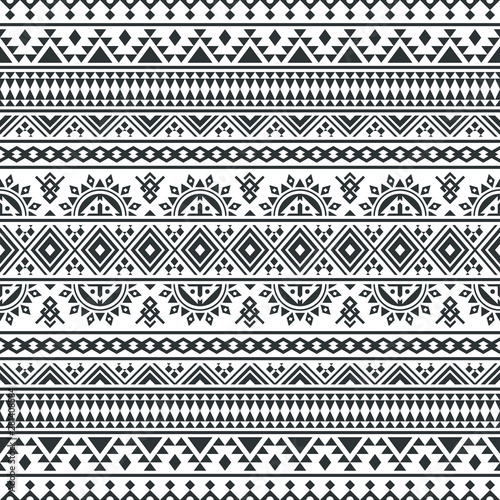 Ikat ethnic pattern vector in black and white color Canvas Print
