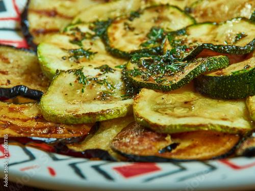 obraz lub plakat Grilled Vegetables with Zaatar Vinaigrette