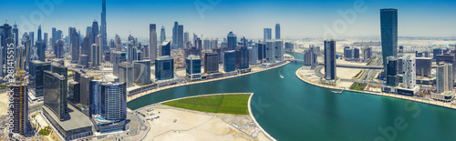 Fotomural  Aerial panorama view on downtown Dubai, UAE, on a summer day.
