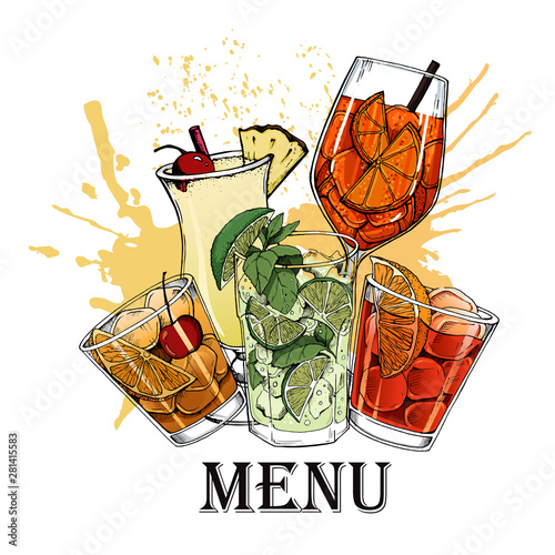 Canvas-taulu Vector illustration of alcoholic cocktails hand drawn style 13