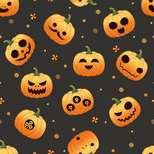Seamless Pattern With Pumpkins Halloween Sets On Black Background, Vector
