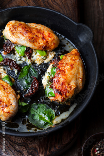 Fotomural  Baked Chicken fillet stuffed with cheese and spinach
