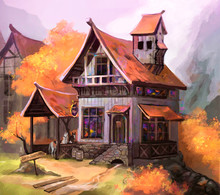 Illustration Of An Old House In Autumn