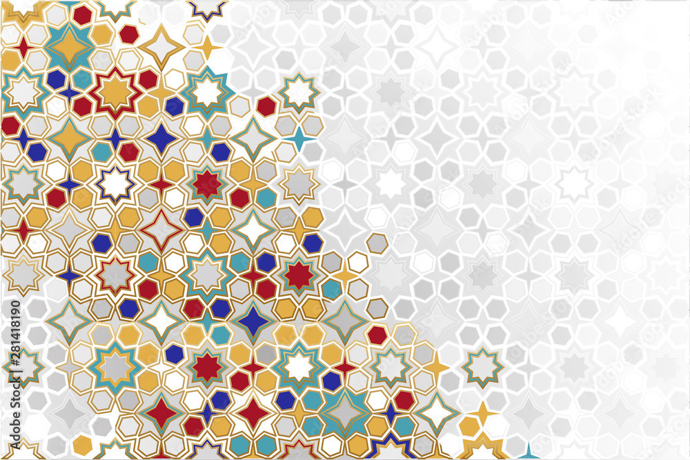 Fototapety, obrazy: Arabic ornamental Background in color. Islamic ornamental colorful detail of mosaic. arabic, east, indian ornament, persian motif, 3D. simple geometric.Ramadan Kareem gold greeting card, banner.