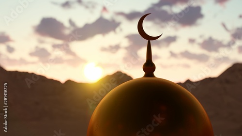 Photo  Top Of the Mosque And Islamic Symbol 3D rendering