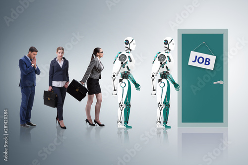 Foto auf AluDibond Akt Woman man and robot competing for jobs
