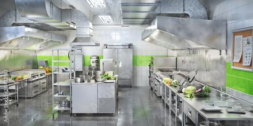 Cuadros en Lienzo Industrial kitchen. Restaurant modern kitchen. 3d illustration