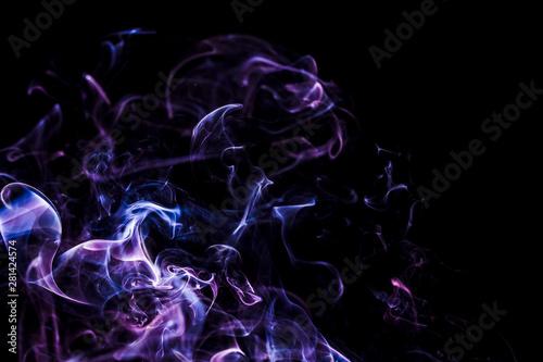 Obraz Czarne tło z kolorowym dymem - abstrakcja. Fale i linie energii.  - fototapety do salonu