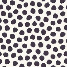 Seamless Pattern. Hand Drawn Imperfect Polka Dot Spot Shape Background. Monochrome Textured Dotty Ink Black White All Overprint Swatch